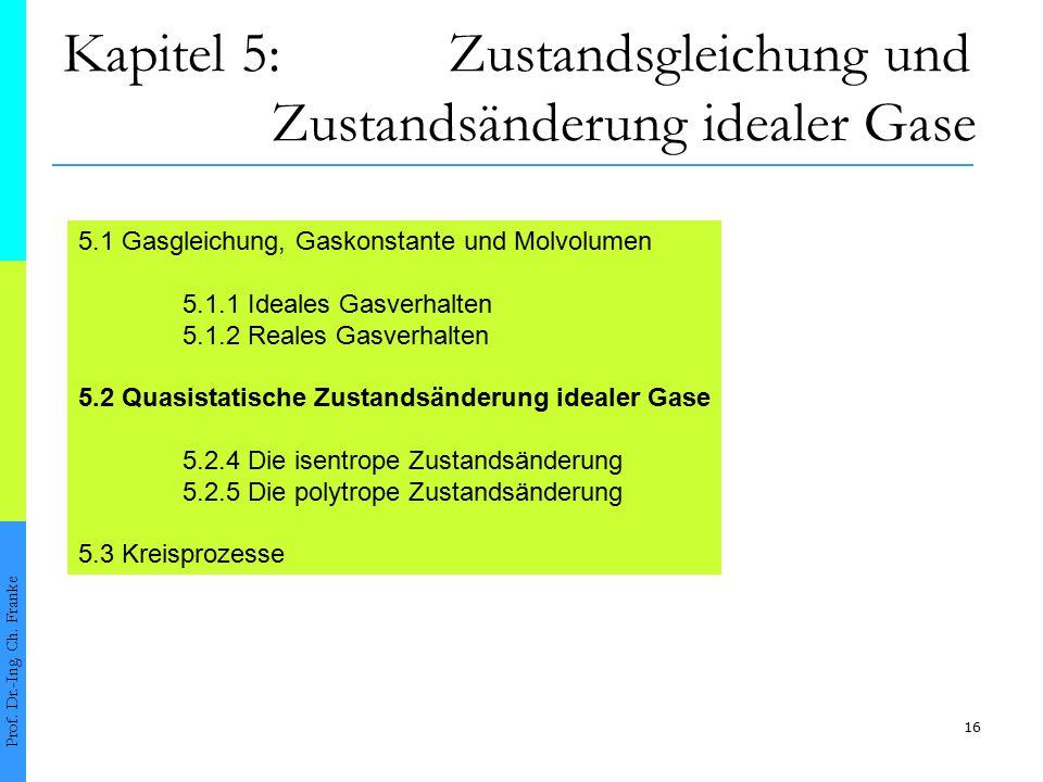 16 Kapitel 5: Zustandsgleichung und Zustandsänderung idealer Gase Prof. Dr.-Ing. Ch. Franke 5.1 Gasgleichung, Gaskonstante und Molvolumen 5.1.1 Ideale