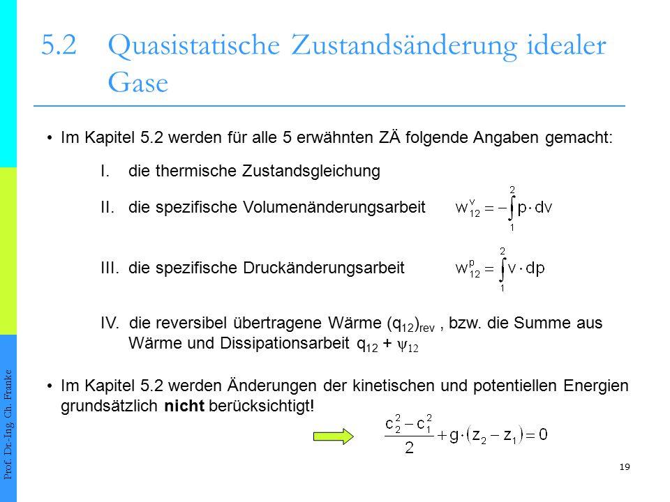19 5.2Quasistatische Zustandsänderung idealer Gase Prof. Dr.-Ing. Ch. Franke Im Kapitel 5.2 werden für alle 5 erwähnten ZÄ folgende Angaben gemacht: I