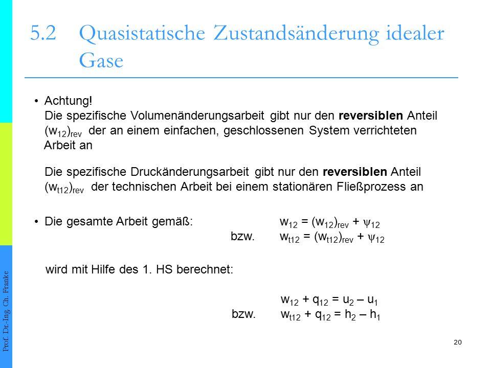 20 5.2Quasistatische Zustandsänderung idealer Gase Prof. Dr.-Ing. Ch. Franke Achtung! Die spezifische Volumenänderungsarbeit gibt nur den reversiblen