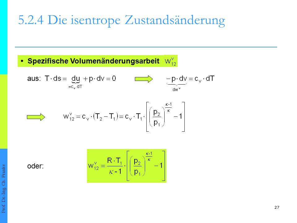 27 5.2.4Die isentrope Zustandsänderung Prof. Dr.-Ing. Ch. Franke Spezifische Volumenänderungsarbeit oder: aus: