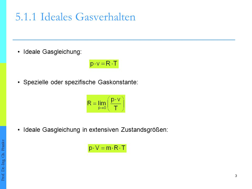 3 5.1.1Ideales Gasverhalten Prof. Dr.-Ing. Ch. Franke Ideale Gasgleichung: Ideale Gasgleichung in extensiven Zustandsgrößen: Spezielle oder spezifisch