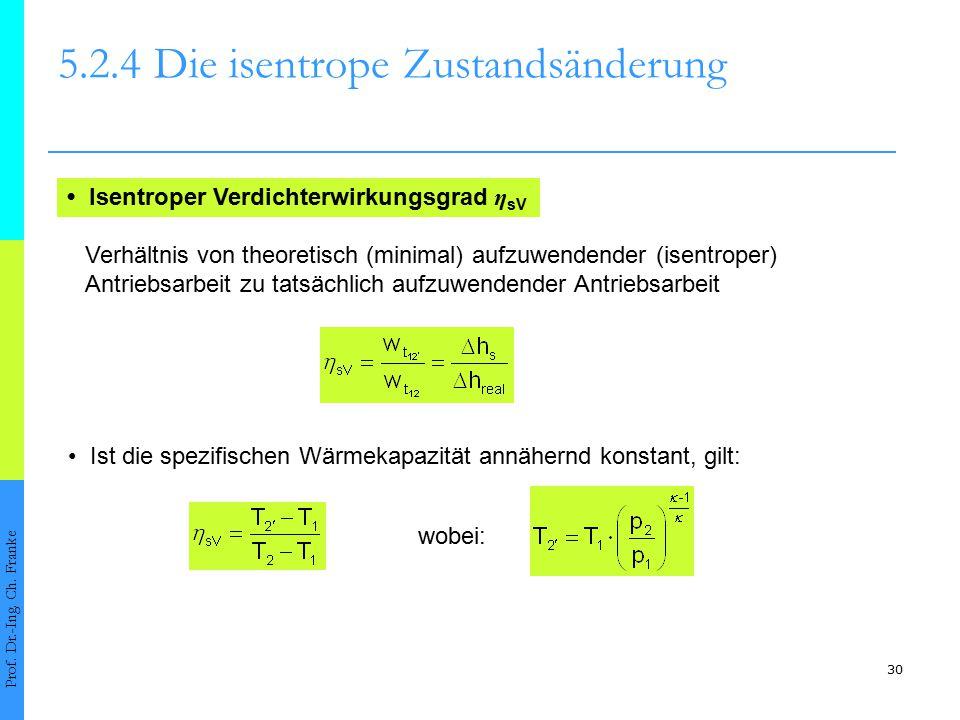30 5.2.4Die isentrope Zustandsänderung Prof. Dr.-Ing. Ch. Franke Isentroper Verdichterwirkungsgrad η sV Verhältnis von theoretisch (minimal) aufzuwend