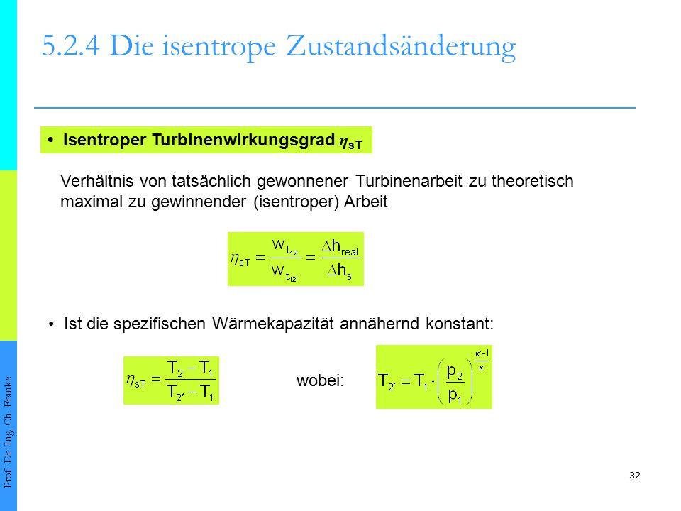 32 5.2.4Die isentrope Zustandsänderung Prof. Dr.-Ing. Ch. Franke Isentroper Turbinenwirkungsgrad η sT Verhältnis von tatsächlich gewonnener Turbinenar