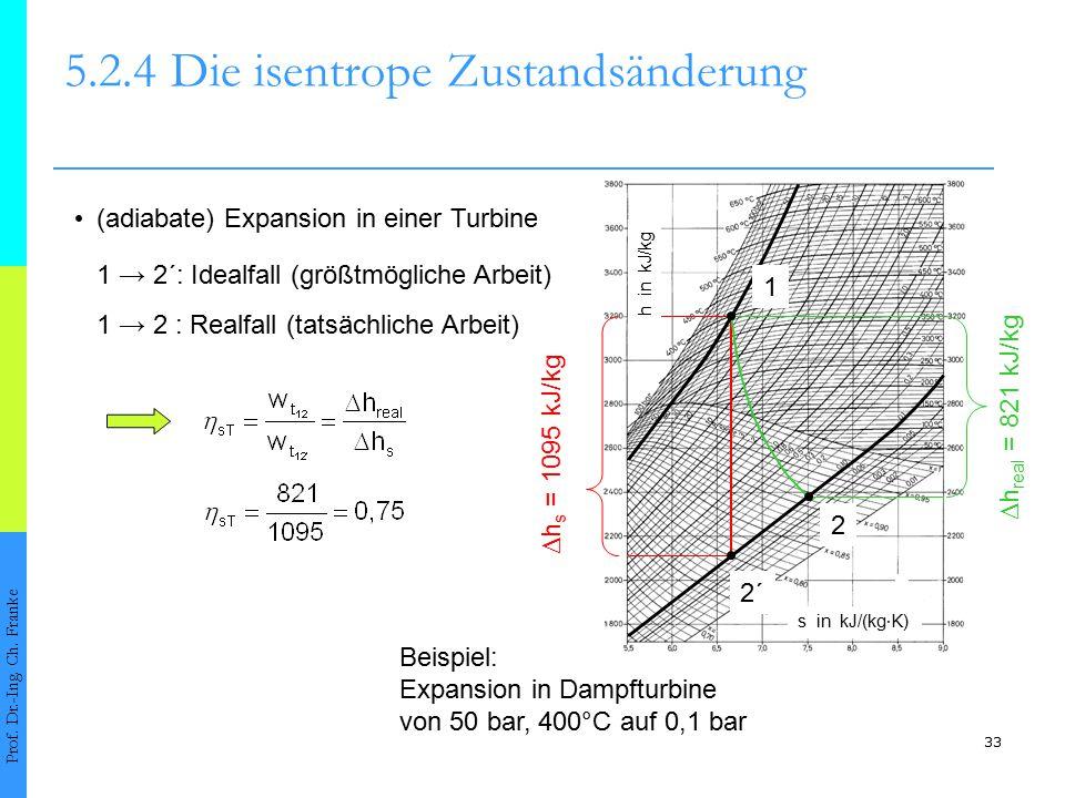 33 5.2.4Die isentrope Zustandsänderung Prof. Dr.-Ing. Ch. Franke (adiabate) Expansion in einer Turbine Beispiel: Expansion in Dampfturbine von 50 bar,
