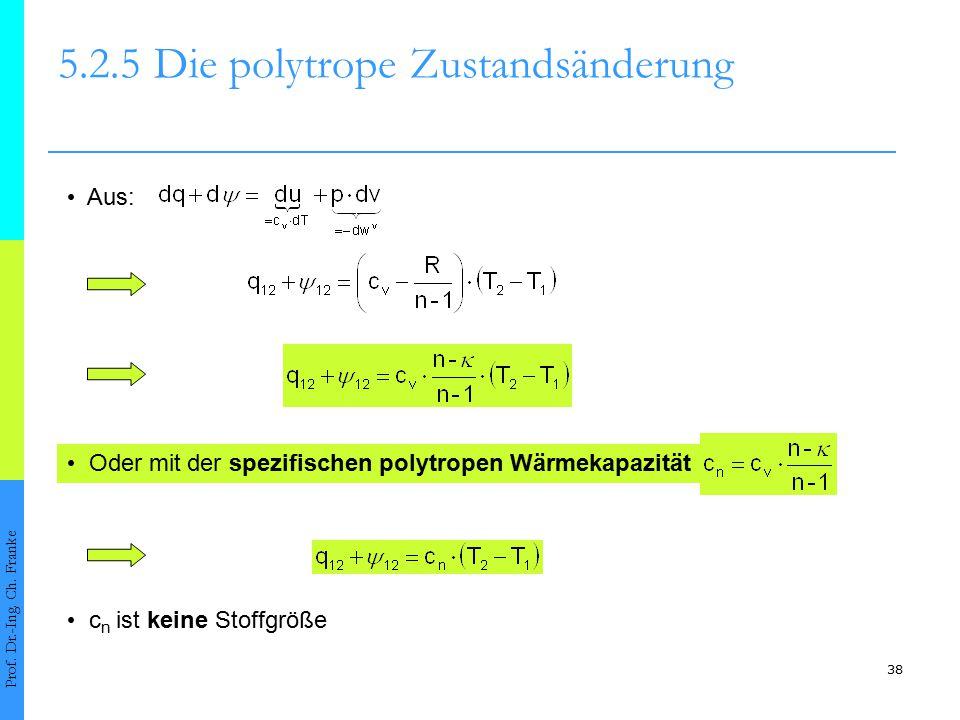 38 5.2.5Die polytrope Zustandsänderung Prof. Dr.-Ing. Ch. Franke Aus: Oder mit der spezifischen polytropen Wärmekapazität c n ist keine Stoffgröße