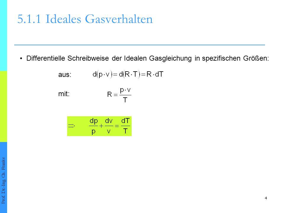 4 5.1.1Ideales Gasverhalten Prof. Dr.-Ing. Ch. Franke Differentielle Schreibweise der Idealen Gasgleichung in spezifischen Größen: aus: mit: