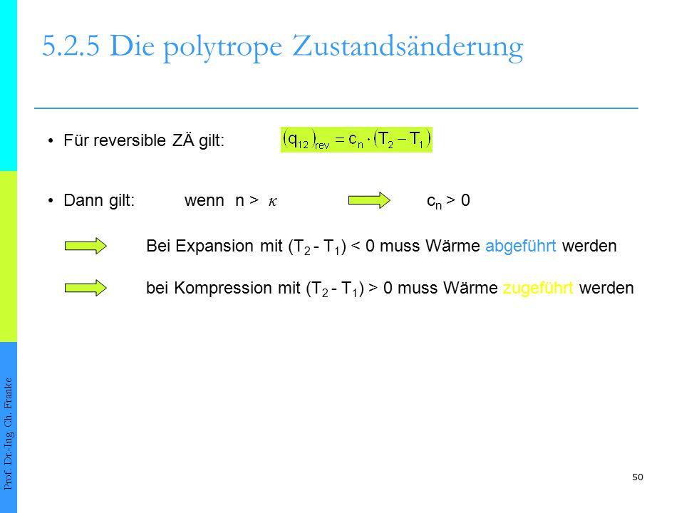 50 5.2.5Die polytrope Zustandsänderung Prof. Dr.-Ing. Ch. Franke Für reversible ZÄ gilt: Dann gilt:wenn n > κ c n > 0 Bei Expansion mit (T 2 - T 1 ) <