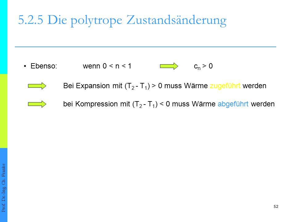52 5.2.5Die polytrope Zustandsänderung Prof. Dr.-Ing. Ch. Franke Ebenso:wenn 0 < n < 1c n > 0 Bei Expansion mit (T 2 - T 1 ) > 0 muss Wärme zugeführt