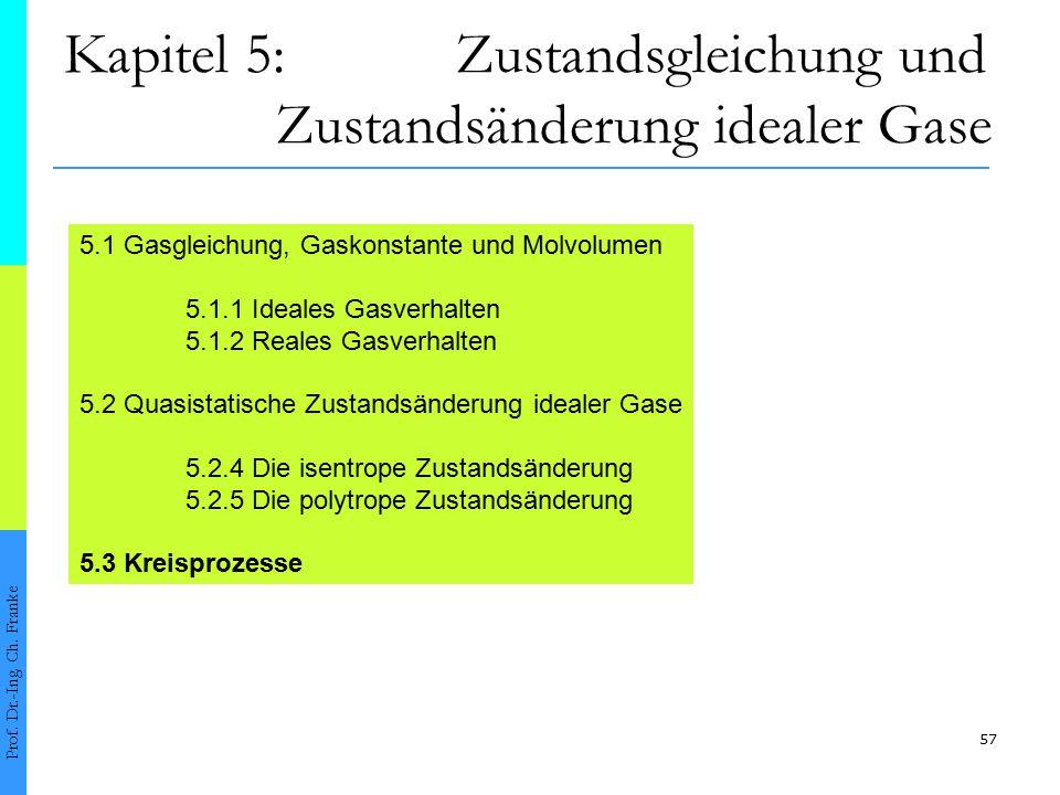 57 Kapitel 5: Zustandsgleichung und Zustandsänderung idealer Gase Prof. Dr.-Ing. Ch. Franke 5.1 Gasgleichung, Gaskonstante und Molvolumen 5.1.1 Ideale