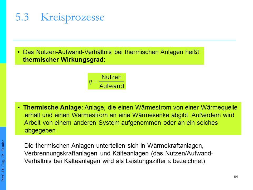 64 5.3Kreisprozesse Prof. Dr.-Ing. Ch. Franke Das Nutzen-Aufwand-Verhältnis bei thermischen Anlagen heißt thermischer Wirkungsgrad: Thermische Anlage: