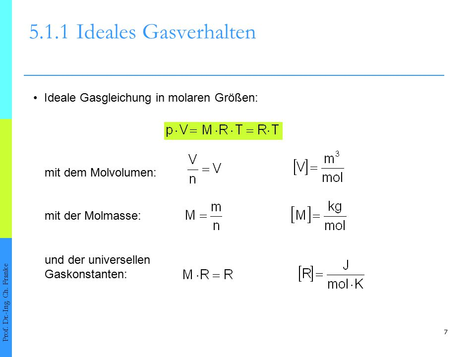 7 5.1.1Ideales Gasverhalten Prof. Dr.-Ing. Ch. Franke Ideale Gasgleichung in molaren Größen: mit der Molmasse: mit dem Molvolumen: und der universelle
