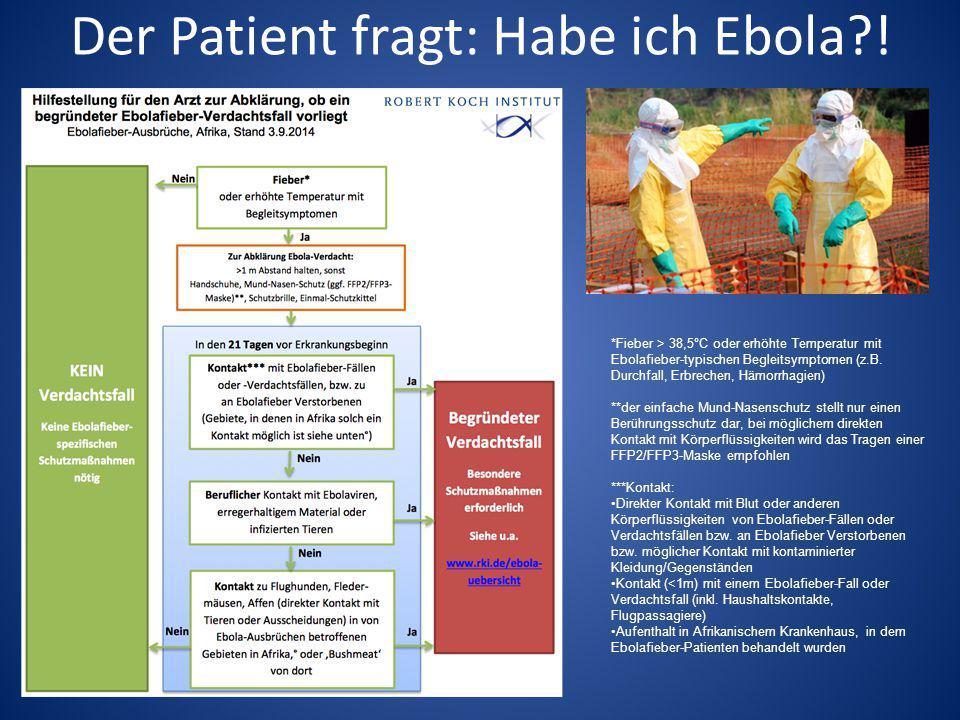 Der Patient fragt: Habe ich Ebola?! *Fieber > 38,5°C oder erhöhte Temperatur mit Ebolafieber-typischen Begleitsymptomen (z.B. Durchfall, Erbrechen, Hä