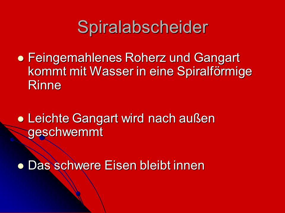 Spiralabscheider Feingemahlenes Roherz und Gangart kommt mit Wasser in eine Spiralförmige Rinne Feingemahlenes Roherz und Gangart kommt mit Wasser in