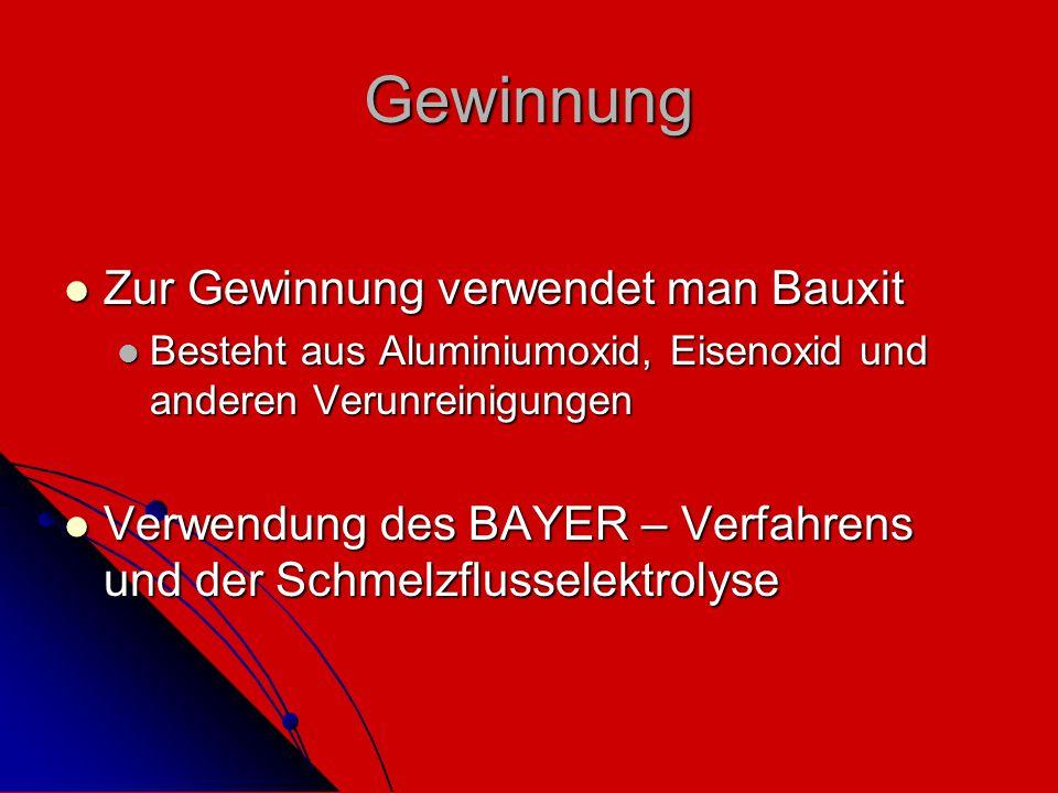 Gewinnung Zur Gewinnung verwendet man Bauxit Zur Gewinnung verwendet man Bauxit Besteht aus Aluminiumoxid, Eisenoxid und anderen Verunreinigungen Best