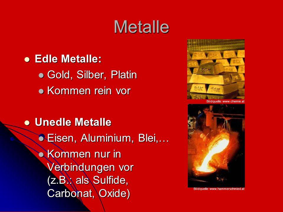 Metalle Edle Metalle: Edle Metalle: Gold, Silber, Platin Gold, Silber, Platin Kommen rein vor Kommen rein vor Unedle Metalle Unedle Metalle Eisen, Alu