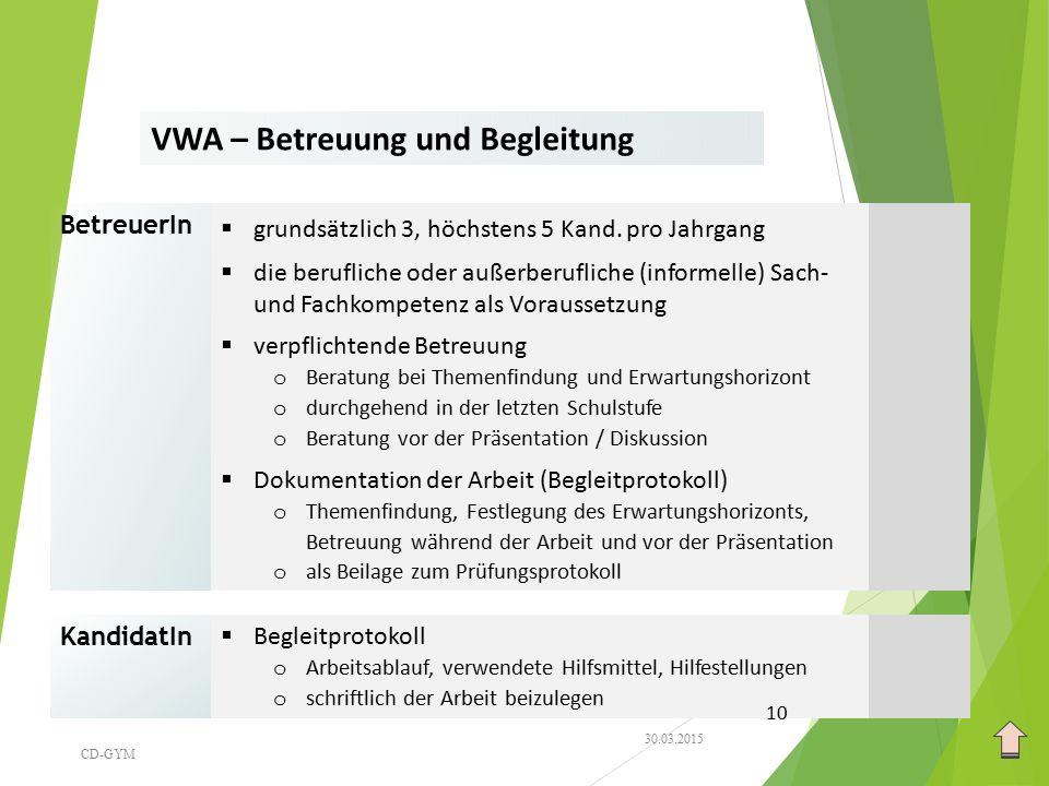 VWA – Betreuung und Begleitung BetreuerIn  grundsätzlich 3, höchstens 5 Kand. pro Jahrgang  die berufliche oder außerberufliche (informelle) Sach- u