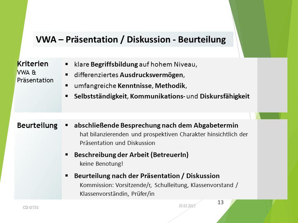 VWA – Präsentation / Diskussion - Beurteilung Kriterien VWA & Präsentation  klare Begriffsbildung auf hohem Niveau,  differenziertes Ausdrucksvermög