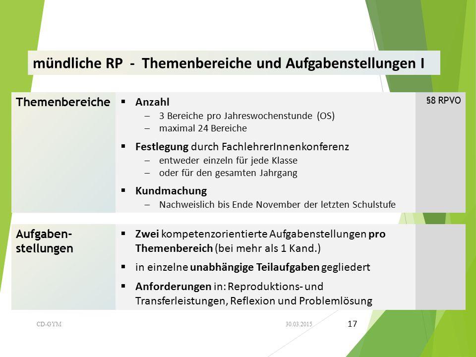 mündliche RP - Themenbereiche und Aufgabenstellungen I Themenbereiche  Anzahl  3 Bereiche pro Jahreswochenstunde (OS)  maximal 24 Bereiche §8 RPVO