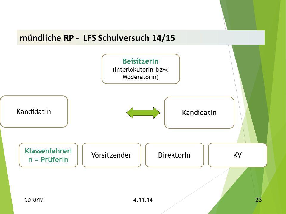 KandidatIn KlassenlehrerI n = PrüferIn VorsitzenderDirektorInKV 23 CD-GYM 4.11.14 mündliche RP - LFS Schulversuch 14/15 BeisitzerIn (InterlokutorIn bz