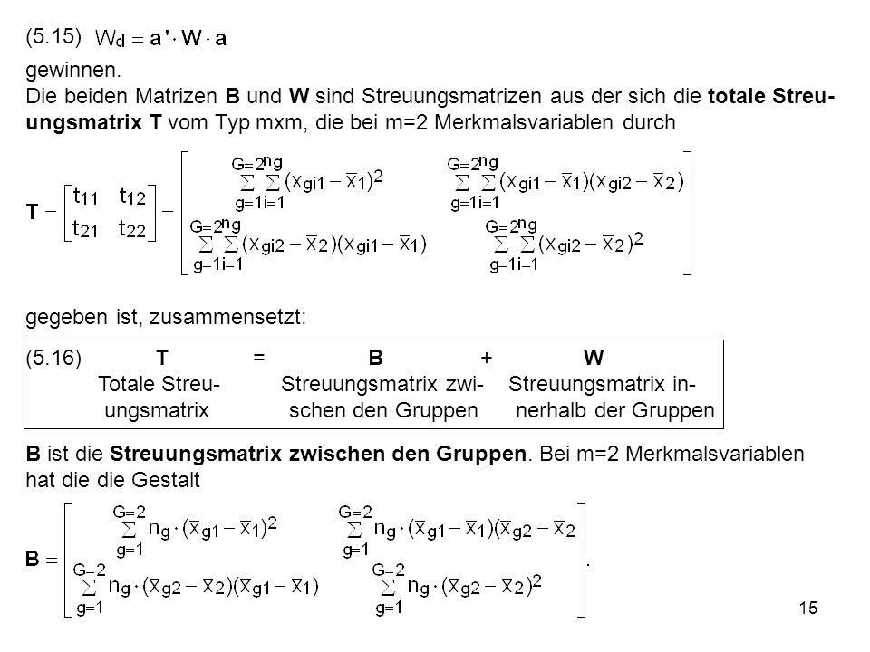 15 (5.15) gewinnen. Die beiden Matrizen B und W sind Streuungsmatrizen aus der sich die totale Streu- ungsmatrix T vom Typ mxm, die bei m=2 Merkmalsva