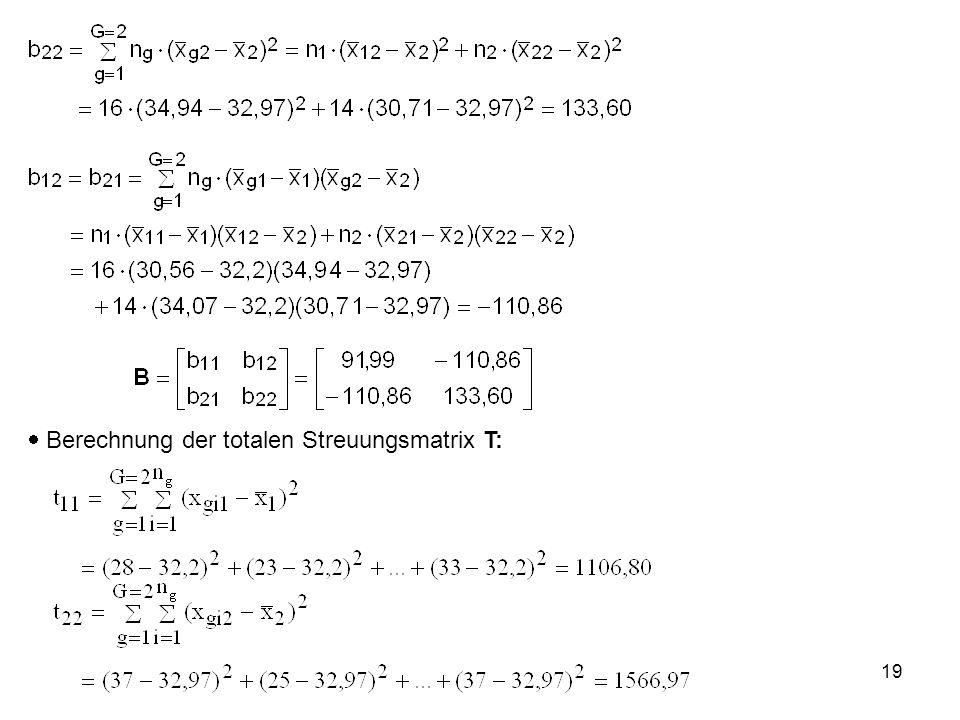19  Berechnung der totalen Streuungsmatrix T: