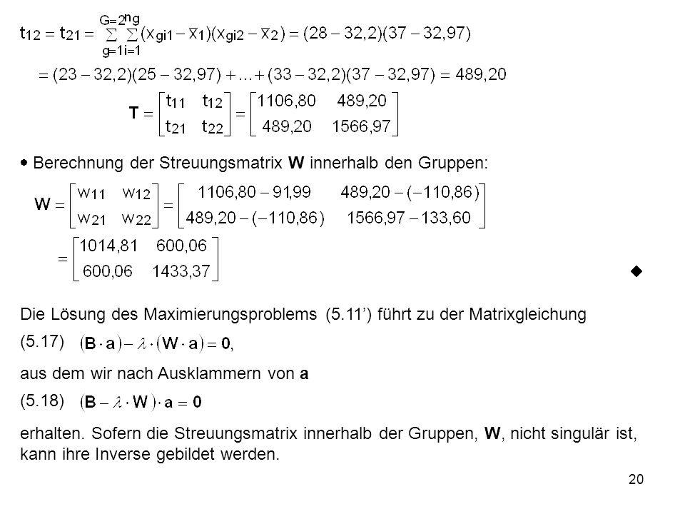 20  Berechnung der Streuungsmatrix W innerhalb den Gruppen:  Die Lösung des Maximierungsproblems (5.11') führt zu der Matrixgleichung (5.17) aus dem