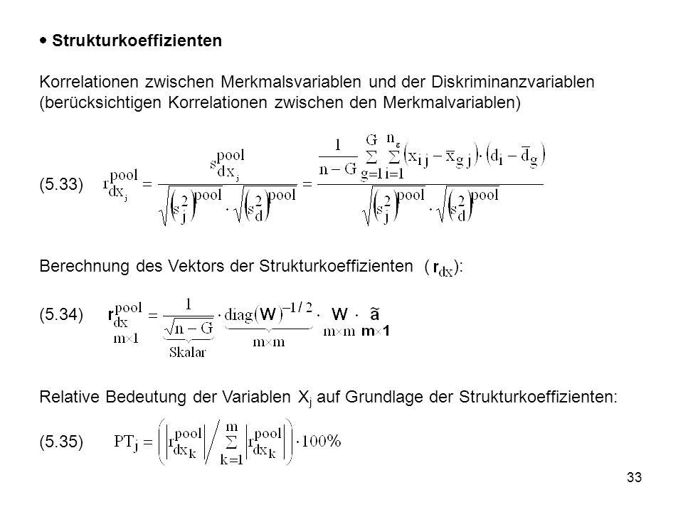 33  Strukturkoeffizienten Korrelationen zwischen Merkmalsvariablen und der Diskriminanzvariablen (berücksichtigen Korrelationen zwischen den Merkmalv