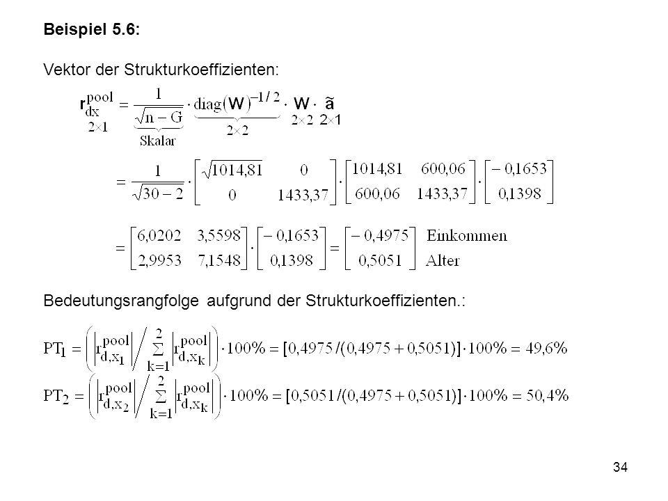 34 Beispiel 5.6: Vektor der Strukturkoeffizienten: Bedeutungsrangfolge aufgrund der Strukturkoeffizienten.: