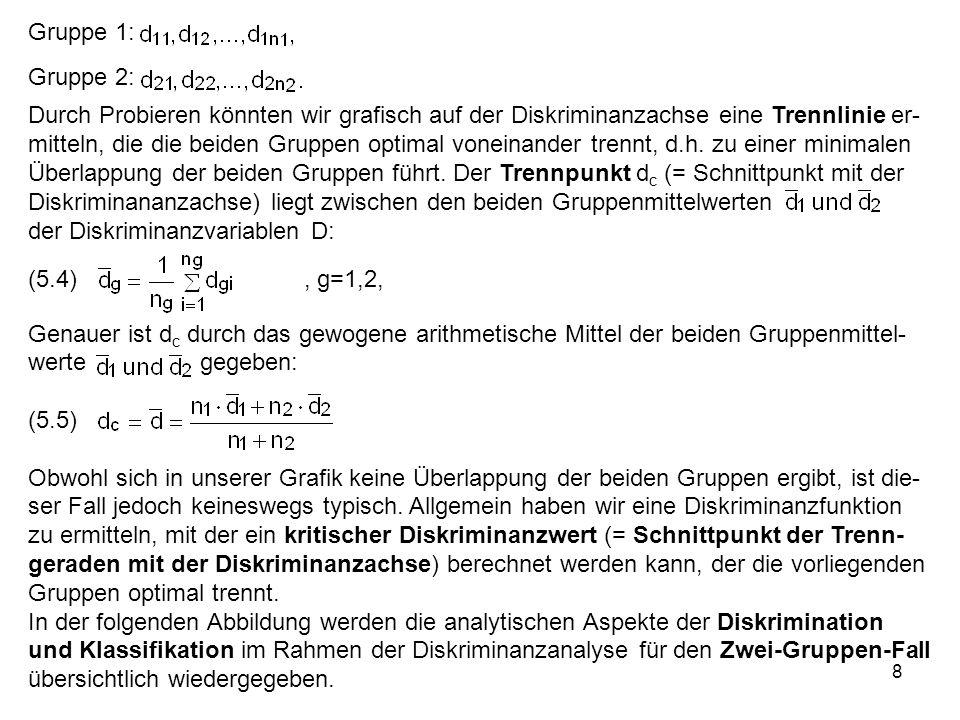 8 Gruppe 1: Gruppe 2: Durch Probieren könnten wir grafisch auf der Diskriminanzachse eine Trennlinie er- mitteln, die die beiden Gruppen optimal vonei
