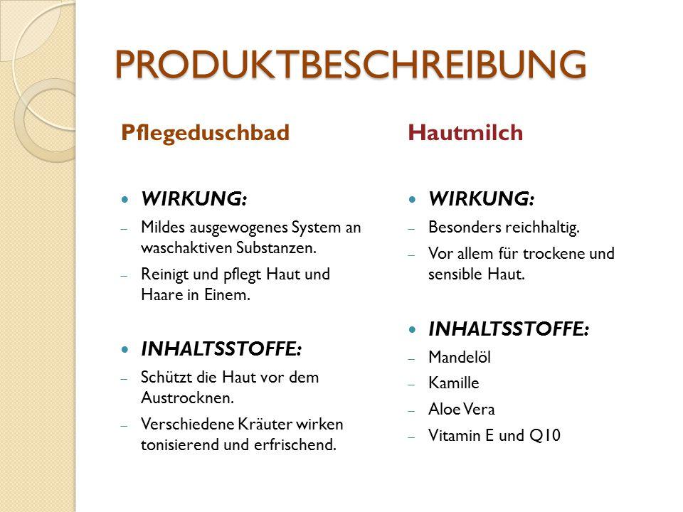 PRODUKTBESCHREIBUNG Pflegeduschbad WIRKUNG:  Mildes ausgewogenes System an waschaktiven Substanzen.  Reinigt und pflegt Haut und Haare in Einem. INH