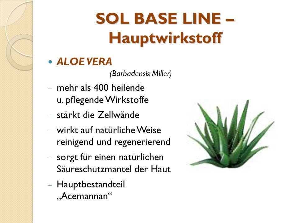 SOL BASE LINE – Hauptwirkstoff ALOE VERA (Barbadensis Miller)  mehr als 400 heilende u. pflegende Wirkstoffe  stärkt die Zellwände  wirkt auf natür