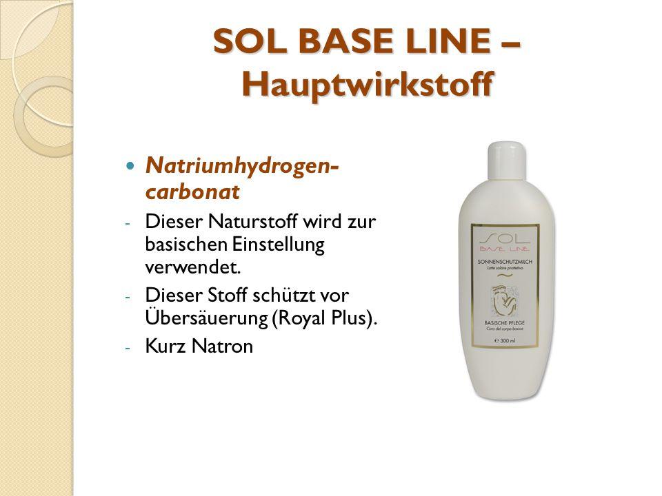 SOL BASE LINE – Hauptwirkstoff Natriumhydrogen- carbonat - Dieser Naturstoff wird zur basischen Einstellung verwendet. - Dieser Stoff schützt vor Über