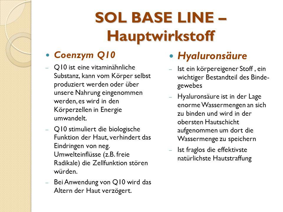 SOL BASE LINE – Hauptwirkstoff Coenzym Q10  Q10 ist eine vitaminähnliche Substanz, kann vom Körper selbst produziert werden oder über unsere Nahrung