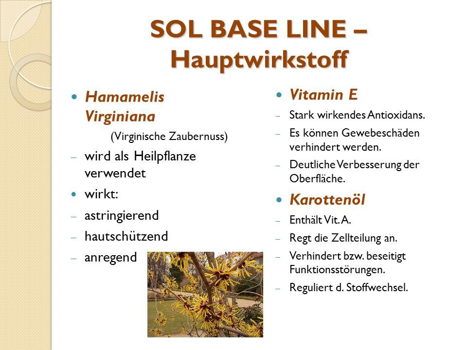 SOL BASE LINE – Hauptwirkstoff Hamamelis Virginiana (Virginische Zaubernuss)  wird als Heilpflanze verwendet wirkt:  astringierend  hautschützend 