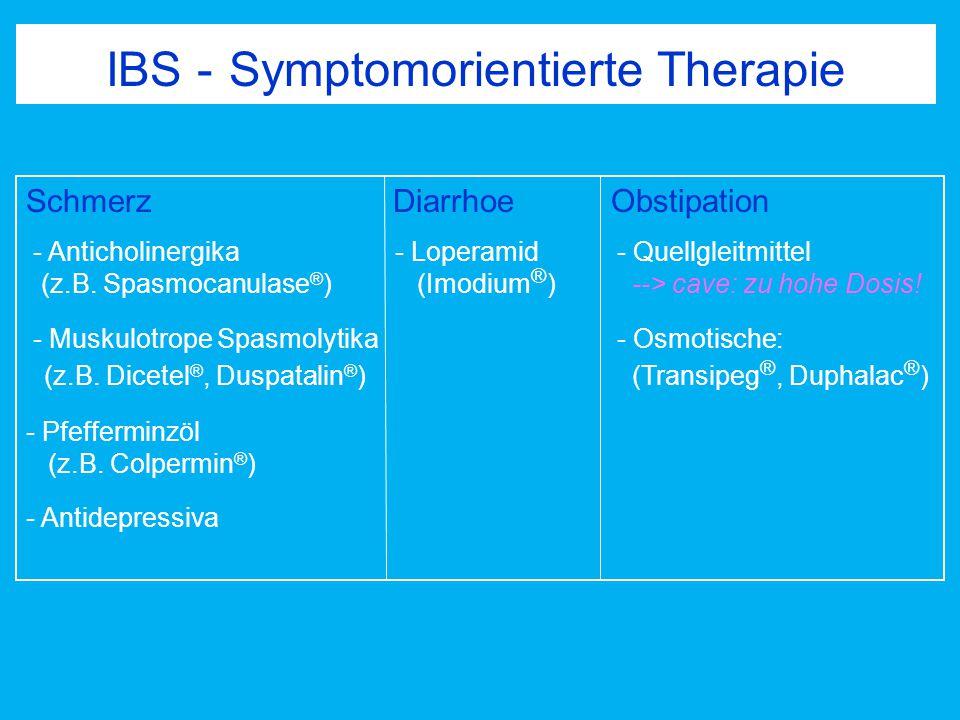 IBS - Symptomorientierte Therapie Schmerz Diarrhoe Obstipation - Anticholinergika - Loperamid - Quellgleitmittel (z.B. Spasmocanulase ® ) (Imodium ® )