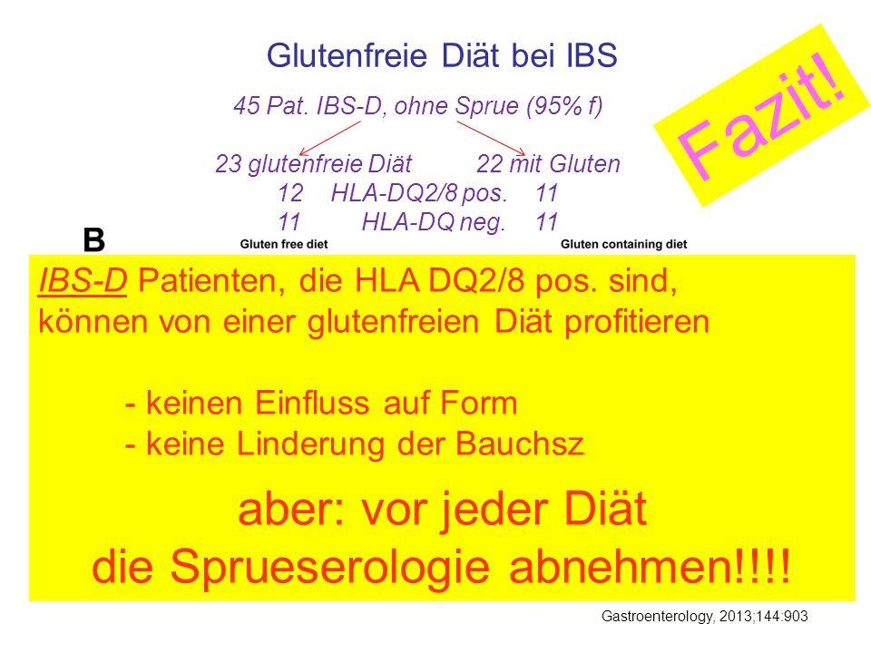 Gastroenterology, 2013;144:903 Glutenfreie Diät bei IBS 45 Pat. IBS-D, ohne Sprue (95% f) 23 glutenfreie Diät22 mit Gluten 12 HLA-DQ2/8 pos. 11 11 HLA
