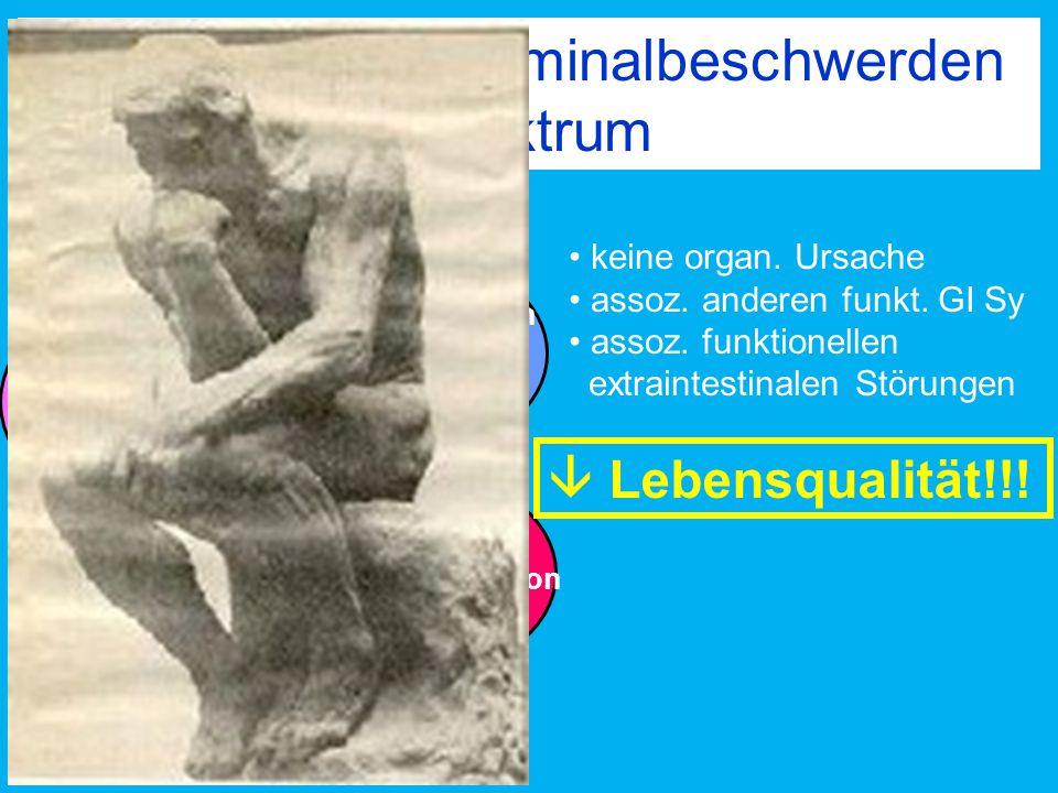 Funktionelle Abdominalbeschwerden Spektrum Blähungen Schmerz obligat Obstipation Diarrhoe IBS keine organ. Ursache assoz. anderen funkt. GI Sy assoz.