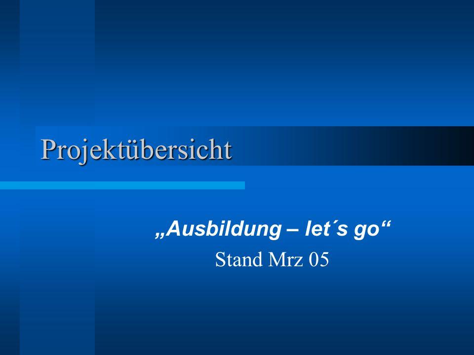 """Projektübersicht """"Ausbildung – let´s go Stand Mrz 05"""