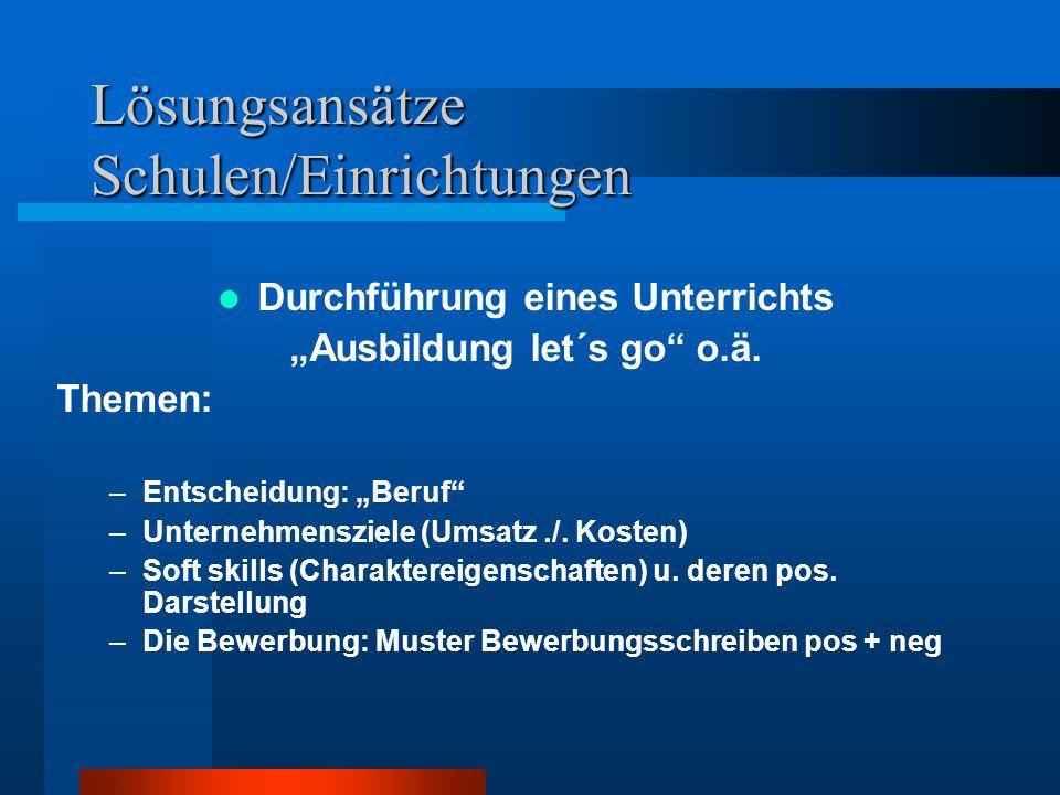 """Lösungsansätze Schulen/Einrichtungen Durchführung eines Unterrichts """"Ausbildung let´s go o.ä."""