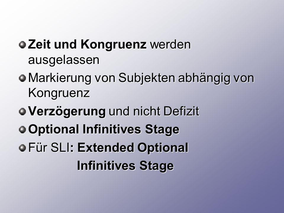 Zeit und Kongruenz werden ausgelassen Markierung von Subjekten abhängig von Kongruenz Verzögerung und nicht Defizit Optional Infinitives Stage Für SLI: Extended Optional Infinitives Stage Infinitives Stage