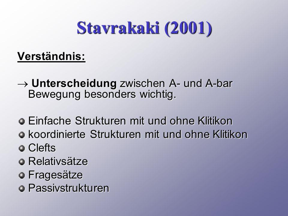 Stavrakaki (2001) Verständnis:  Unterscheidung zwischen A- und A-bar Bewegung besonders wichtig.