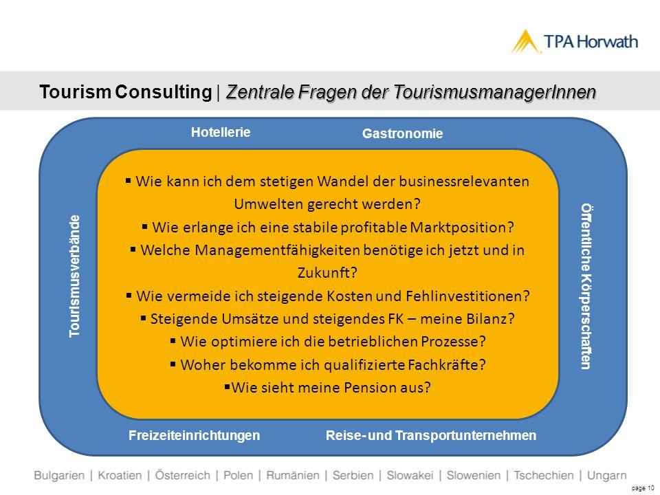Zentrale Fragen der TourismusmanagerInnen Tourism Consulting | Zentrale Fragen der TourismusmanagerInnen page 10  Wie kann ich dem stetigen Wandel der businessrelevanten Umwelten gerecht werden.