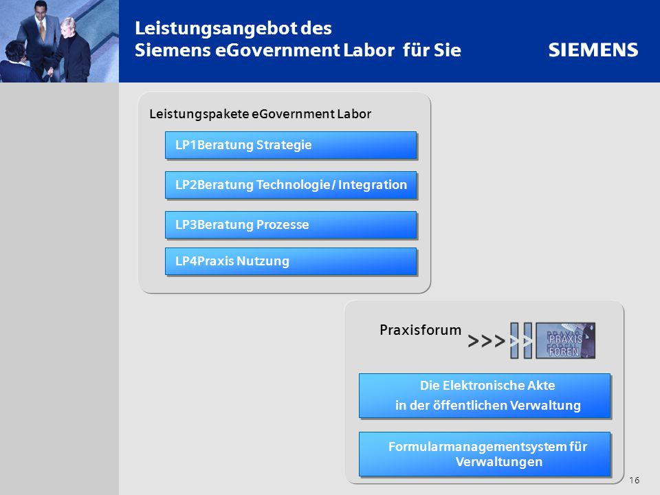 s 16 Leistungsangebot des Siemens eGovernment Labor für Sie LP2Beratung Technologie / Integration LP3Beratung Prozesse LP4Praxis Nutzung LP1Beratung S