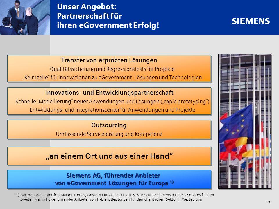 s 17 Unser Angebot: Partnerschaft für ihren eGovernment Erfolg! 1)Gartner Group: Vertical Market Trends, Western Europe 2001-2006, März 2003: Siemens