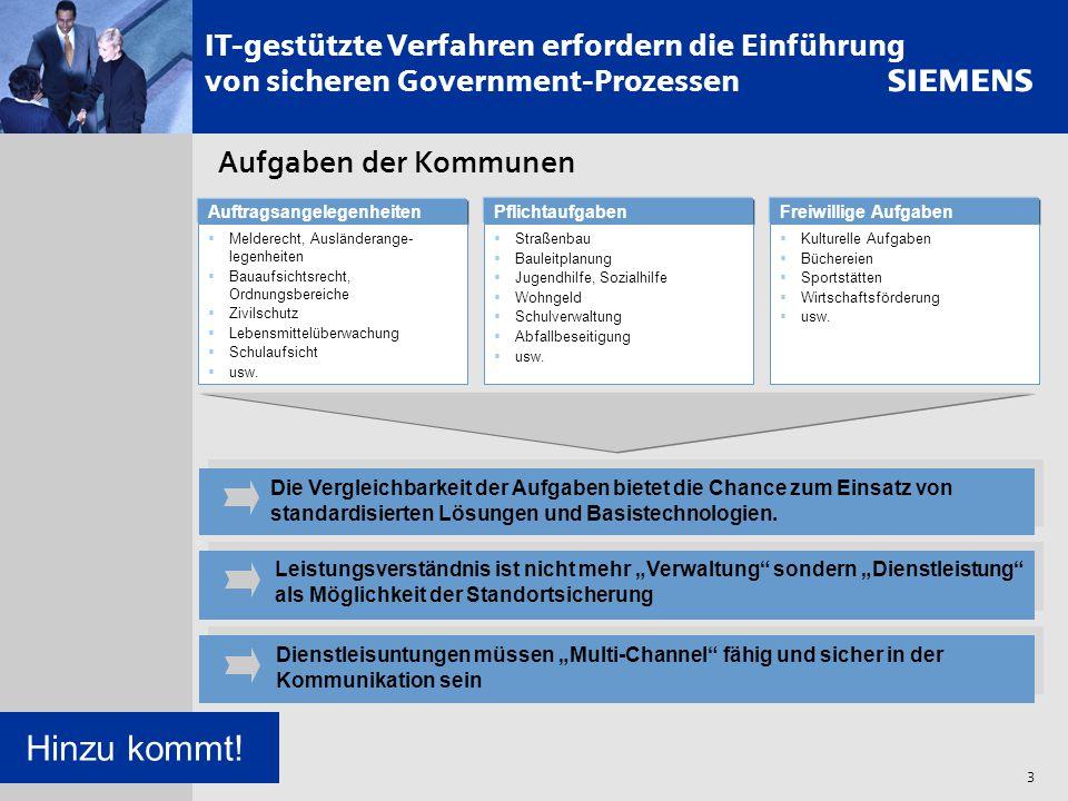 s 3 IT-gestützte Verfahren erfordern die Einführung von sicheren Government-Prozessen Aufgaben der Kommunen Auftragsangelegenheiten  Melderecht, Ausl