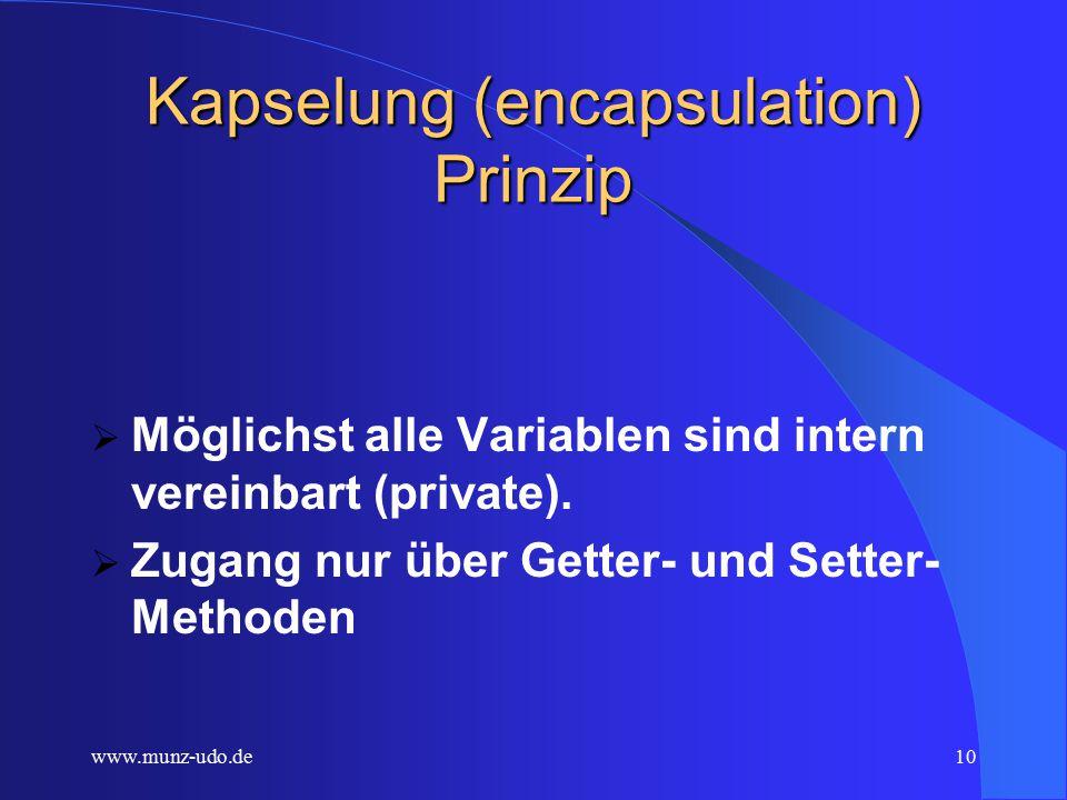 www.munz-udo.de9 Vorgänge im Fahrkartenautomaten (Methoden)  Karte drucken  Fahrpreis berechnen (von der Fahrstrecke abhängen )  Karten zu ermäßigtem Preis.