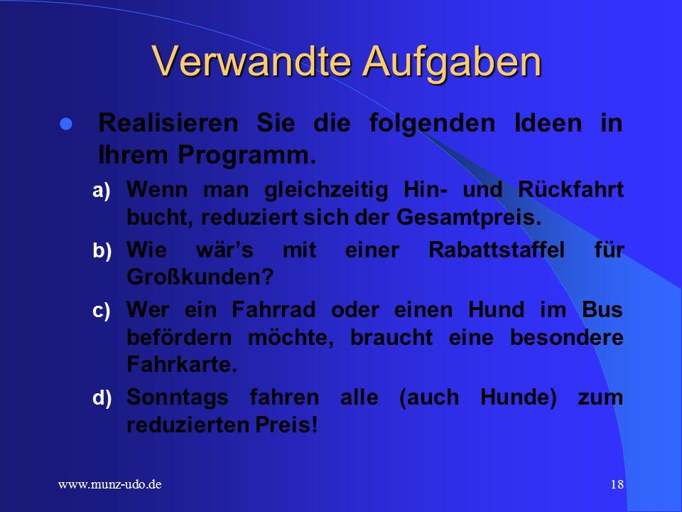 www.munz-udo.de17 Erweiterungen zu Fahrkarten 1.