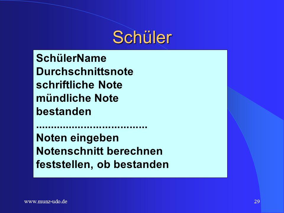 www.munz-udo.de28 Schulklasse Schulklasse NameSchüler Gewichtung schriftlich-mündlich Klassenlehrer Schnitt aller Gesamtnoten............................................