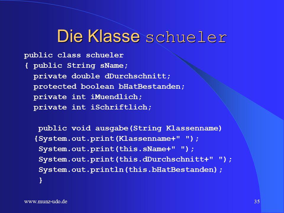 """www.munz-udo.de34 Aufrufe von schulklasse schulklasse klasse1=new schulklasse( 11a , """"Munz ,1.5); schulklasse klasse2=new schulklasse( 12a , Henne ,2);"""