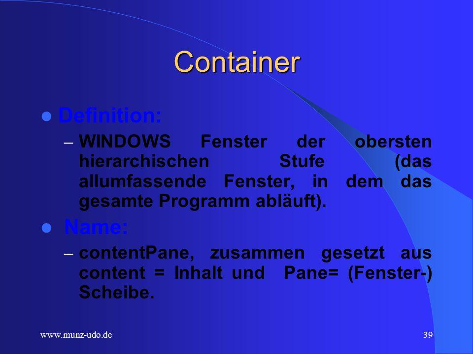 www.munz-udo.de38 Weiterführende Testaufgaben 1) Testen sie Ihr Programm gemäß den oben beschriebenen Methoden.